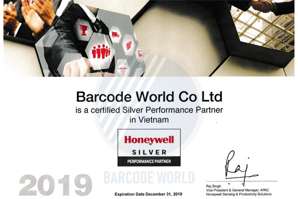 Giấy chứng nhận nhà phân phối chính hãng máy quét mã vạch Honeywell của Thế Giới Mã Vạch