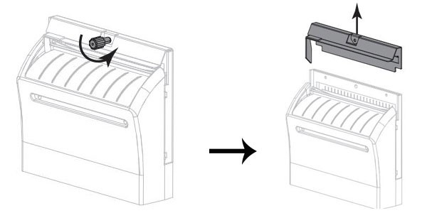 Vặn ốc cố định dao cắt để tháo rời dao khỏi máy in mã vạch