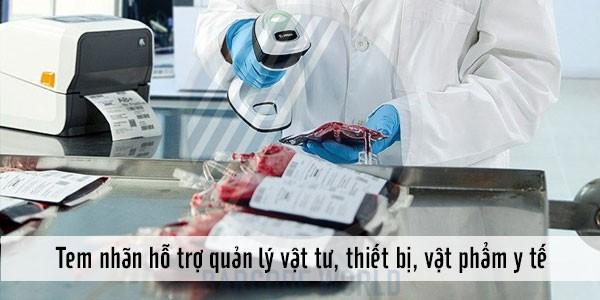 In tem quản lý các vật phẩm, vật tư, thiết bị y tế bằng máy in tem nhãn decal