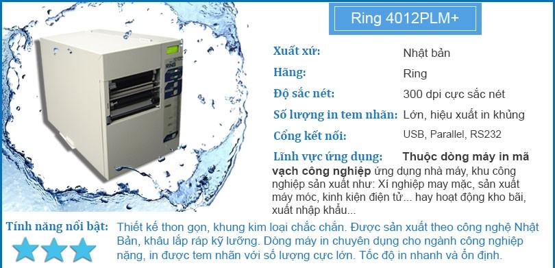 Máy in mã vạch công nghiệp RING 4012PLM+