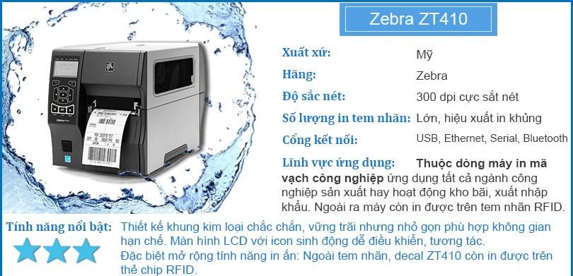 Máy in mã vạch công nghiệp Zebra ZT410