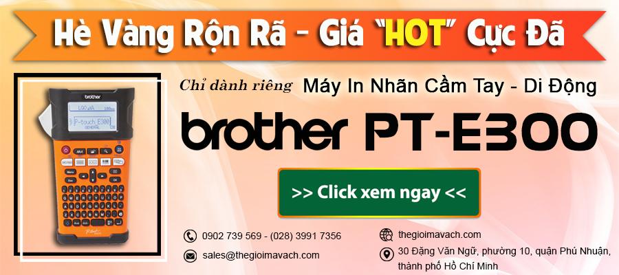 Máy in nhãn cầm tay di động Brother PT-E300 giá rẻ