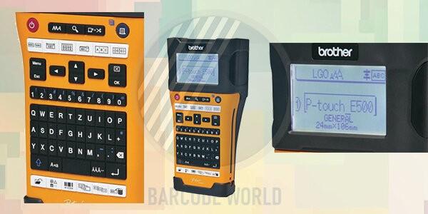 Màn hình LCD đơn sắc và bàn phím QWERTY máy in tem nhãn cầm tay Brother PT-E500VP