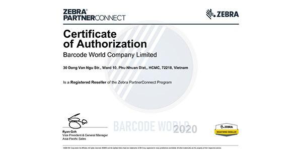 Chứng nhận Zebra - máy bắn barcode Zebra
