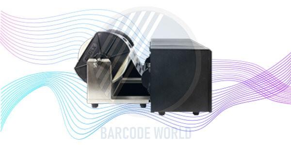 Máy in tem nhãn dán HD830i nhỏ gọn với giá đặt cuộn giấy bên ngoài
