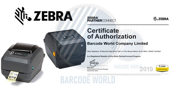 Chứng nhận nhà phân phối chính hãng từ thương hiệu máy in tem nhãn Zebra
