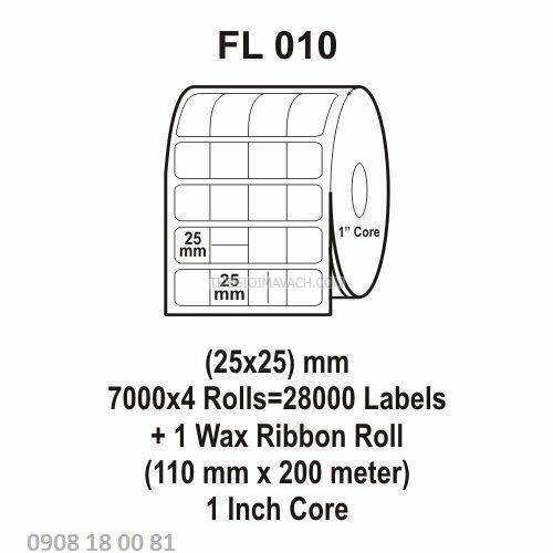 Giấy in mã vạch Fasson Kích thước 25x25mm