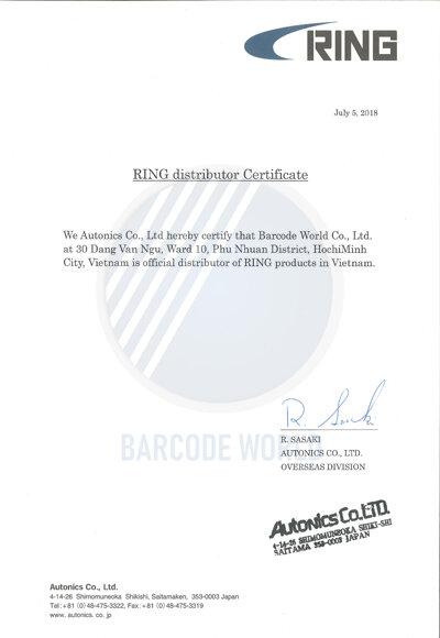 Giấy chứng nhận nhà phân phối máy in tem mã vạch Ring chính thức tại Việt Nam