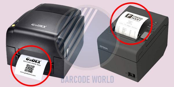 Máy in hóa đơn sau khi in ấn đều xuất giấy lên phía trên. Ngược lại, máy in tem lại xuất giấy ra từ mặt trước.