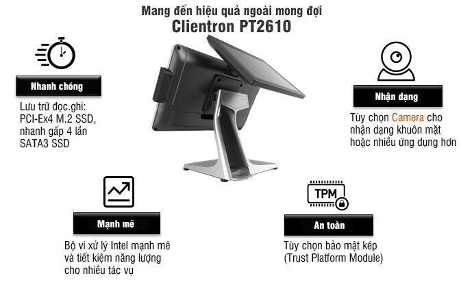 Máy Pos bán hàng Clientron PT2610 chính hãng, chất lượng