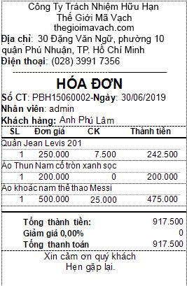 Mẫu hóa đơn trên phần mềm bán hàng cho cửa hàng, shop AI POS - Thế Giới Mã Vạch