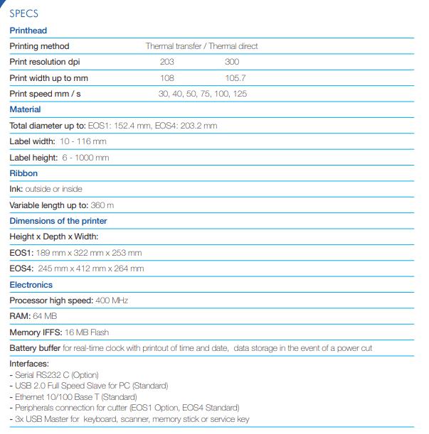 Thông số kỹ thuật máy in mã vạch Cab EOS4 - Thế Giới Mã Vạch